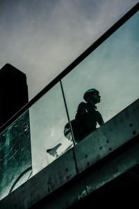 Cyclist Millennium Bridge, London, street photography, Damien Demolder